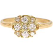 Edwardian 18K Yellow Gold Old Mine Diamond Cluster Conversion Ring