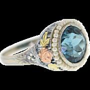 Art Deco Blue Zircon & Seed Pearl Filigree 14k White Gold Ring