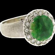 Vintage 18k White Gold Green Jade & Diamond Ring