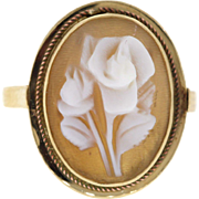 Vintage Rose Shell Cameo 14k Yellow Gold Ring