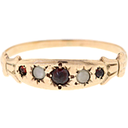 Victorian Rose Gold Garnet & Pearl Band, 10k Yellow Gold Ring