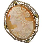 10k Yellow Gold Filigree Cameo Pin Pendant, Vintage Carved Shell Cameo