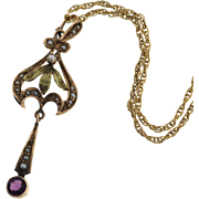 Art Nouveau 10k Rose Gold Seed Pearl Amethyst Necklace