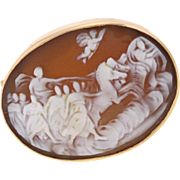 Antique Victorian Cameo Rose Gold Brooch, Greek Mythology