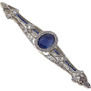 Art Deco Platinum Sapphire & Diamond Pin Brooch, Upcycled