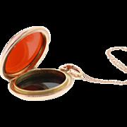 Antique 14K Rose Gold Bloodstone & Sardonyx Agate Locket Watch Fob
