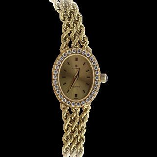 14k Yellow Gold CYMA Watch with Diamond Bezel & Triple Rope Bracelet