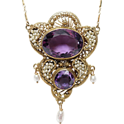 Stunning Antique Victorian Filigree Amethyst &FW Seed Pearl Necklace