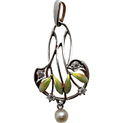Beautiful Vintage Art Nouveau Diamond, Enamel and Cultured Freshwater Pearl Lavaliere or Pendant