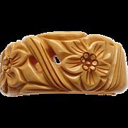 Beautiful Vintage Carved Floral Design Hinged Cuff Clamper Bakelite Bracelet