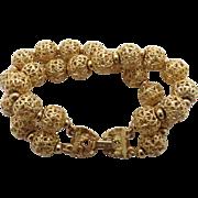 Vintage MONET Double Strand  Filigree Beaded Gold Tone Bracelet
