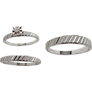 Wedding Trio Set - Diamond Engagement Ring with Matching Ladies and Man's Wedding Bands in 14K White Gold