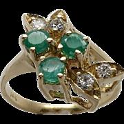 Ladies 14K Yellow Gold Emerald & Diamond Leaf Design Ring