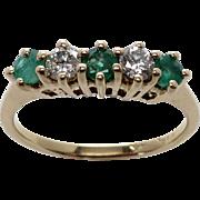Ladies 14K 1/5 Ct. Diamond & 1/3 Ct. Emerald Band in Yellow Gold