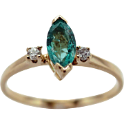 Ladies 14K Yellow Gold Marquise Emerald and Diamond Ring