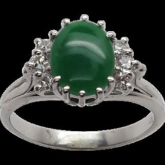 Stunning 14K WG Apple Green Jadeite Jade & Diamond Ring