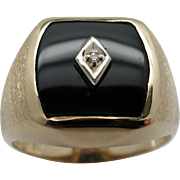 Man's Black Onyx  with Center Set Diamond Ring in 10K Yellow Gold