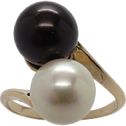 Stunning Black & White Akoya Cultured Pearl Swirl Design Ring In 14K Yellow Gold