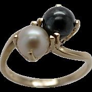 Ladies 10K Black & White Akoya Cultured Pearl Ring