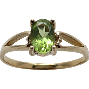 Ladies Peridot Ring with Open Heart Design Band
