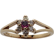 Ladies YG Genuine Ruby surrounded by Diamonds Delicate Cluster Ring