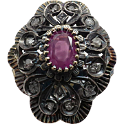 "Gorgeous Ladies ""Vintage New"" 18K Oxidized White & Yellow Gold Antique Look Filigree	Ruby & Diamond Ring"