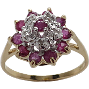 Ladies 10K YG Genuine Ruby and Diamond Dome Cluster Dinner Ring