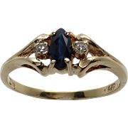 Ladies 14K Yellow Gold Marquise Sapphire and Diamond Ring.  A Petite Classic