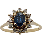 Ladies 14K Yellow Gold Princess Diana Style Diamond and Sapphire Ring