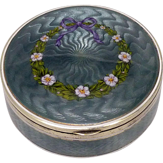 Antique Guilloche Vales Enamel Gilt Silver Box, with English Import Marks, circa 1910