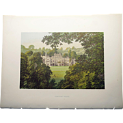Antique 1880's English Color Engraved Print of  Hampton Court with Cover Page