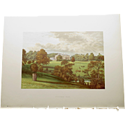 Antique 1880's English Color Engraved Print of  Ashcombe Park with Cover Page