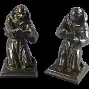 Antique Lous Mclellan Potter - Monks Reading, A pair of Bookends Original Bronze 1911