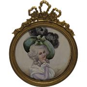 Antique Hand Painted Portrait Miniature Of 18thC. Woman in 19C. Original Frame