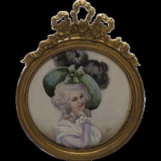 Antique Hand Painted Portrait Miniature Of 18thC. Woman in 19C. Original Frame