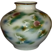 Antique Japanese Art Pottery Vase with Bat and Moon Design