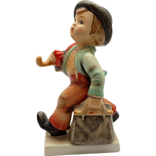 Vintage 1950's Hummel Figurine titled Merry Wanderer with Full Bee Stamp Western Germany