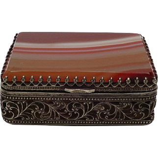Exquisite Vintage Silver Filigree Trinket Box w/ Banded Red Agate Lid & Moss Agate Bottom