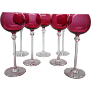 """7 Vintage 7 3/4"""" Tall Cranberry Glass Wine Goblets / Glasses"""