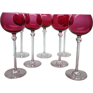 "7 Vintage 7 3/4"" Tall Cranberry Glass Wine Goblets / Glasses"