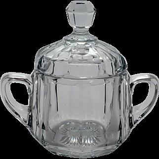 Vintage Heisey Covered Sugar Bowl w/ Handles & Starburst Design Bottom