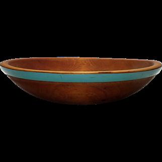 Vintage Hand Painted Munising Wooden Bowl w/ 1940's Original Green Trim