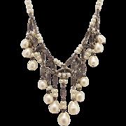Vintage Art Nouveau Imitation Pearl Fringe Necklace