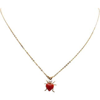 "Krementz 14K Gold Overlay Carved Heart Coral & Akoya Cultured Pearl Lady Bug Pendant on 18"" Fine Cable Chain"