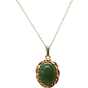Classic Nephrite Green Jade 14K Yellow Gold Necklace with Twist Design