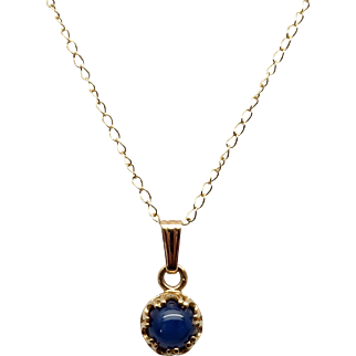 Elegant Linde Blue Star Sapphire 14K Yellow Gold Necklace