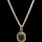 Vintage New Gold over Sterling Silver (Vermeil) Dark Green Genuine Jade Necklace with Rope Design