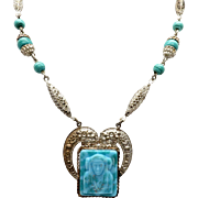 Beautiful, Unique Vintage Egyptian Revival Blue Green Bead Necklace with Carved Head Pendant