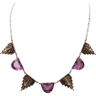 """Gorgeous 16"""" Vintage Antique Egyptian Revival Necklace set with Glass Simulated Amethyst"""