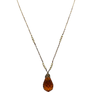 "Vintage 17 1/4""  Faceted Tear Drop Simulated Topaz Pendant with Simulated Pearls on Chain."